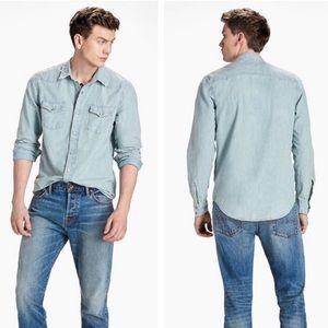 Lucky Brand Denim Button Shirt Classic Fit Western